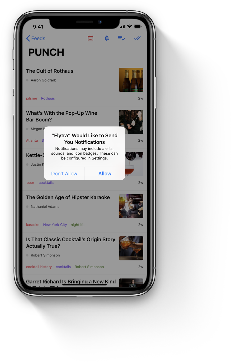 Elytra's Push Notifications support for new articles