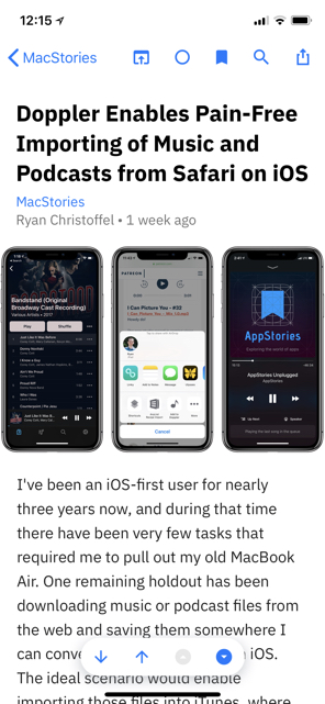 Elytra on iPhone showing the article interface